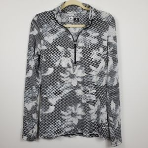 RBX Floral Polka-dot Geo 1/4 Workout Long Sleeve
